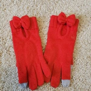 Kate spade red wool gloves with bow